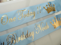 Blue & Gold 1st Birthday Banner
